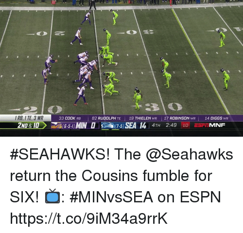 Diggs: IRB, I TE, 3 WR  2ND &10  33 COOK RB  82 RUDOLPH TE  19 THIELEN WR    17 ROBINSON  WR  14 DIGGS WR  4TH 2:49 10 E5FIMNF #SEAHAWKS!  The @Seahawks return the Cousins fumble for SIX!  📺: #MINvsSEA on ESPN https://t.co/9iM34a9rrK