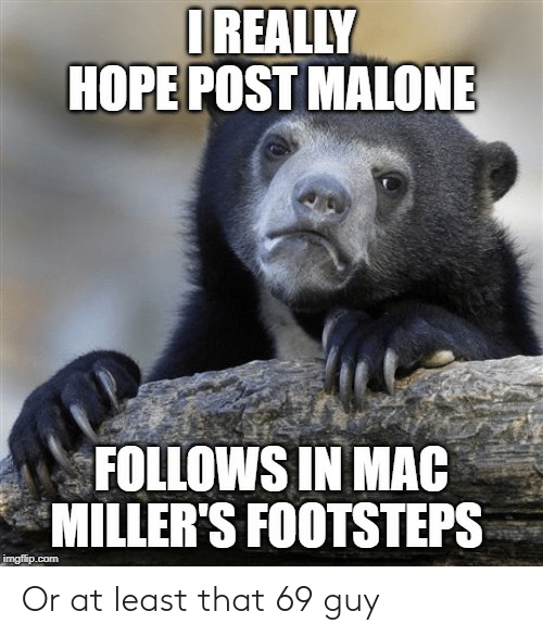Post Malone, Hope, and Advice Animals: IREALLY  HOPE POST MALONE  FOLLOWS IN MAC  MILLER'S FOOTSTEPS  imgflip.com Or at least that 69 guy