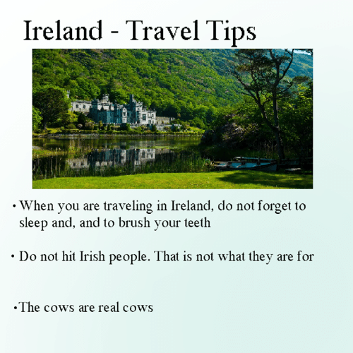 Ireland: Ireland - Travel Tips  . When you are traveling in Ireland, do not forget to  sleep and, and to brush your teeth  Do not hit Irish people. That is not what they are for  .The cows are real cows