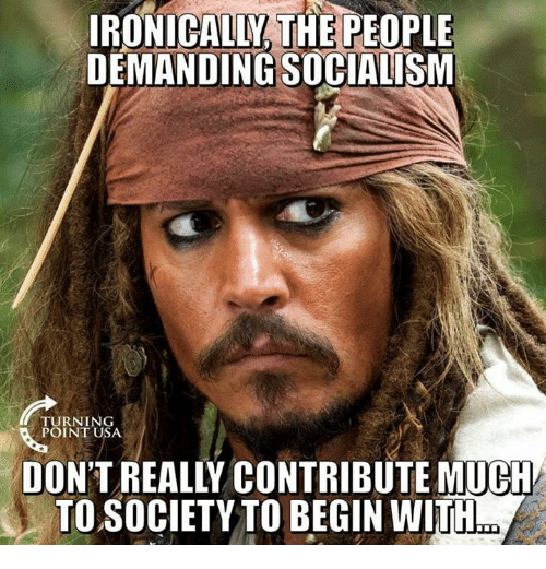 Memes, Socialism, and 🤖: IRONICALLY, THE PEOPLE  DEMANDING SOCIALISM  TURNING  POINT USA  DON'T REALLY CONTRIBUTE MUCH  TO SOCIETY TO BEGIN WITH
