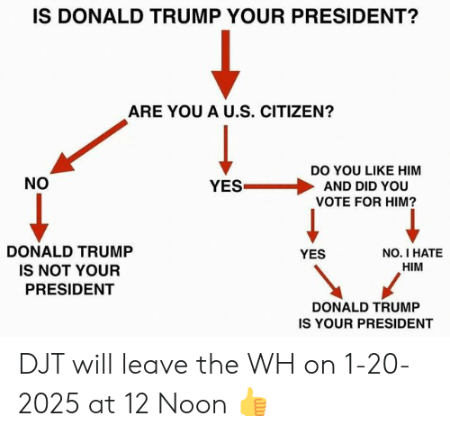 Donald Trump, Politics, and Trump: IS DONALD TRUMP YOUR PRESIDENT?  ARE YOU A U.S. CITIZEN?  DO YOU LIKE HIM  AND DID YOU  VOTE FOR HIM?  NO  YES  DONALD TRUMP  IS NOT YOUR  PRESIDENT  NO. I HATE  HIM  YES  DONALD TRUMP  IS YOUR PRESIDENT DJT will leave the WH on 1-20-2025 at 12 Noon 👍