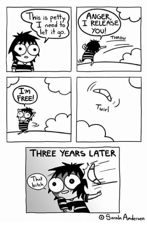 toi: is is petl  I need toI RELEASE  let it qp.  ANGF  You!  el iT go.  g°  THROW  Im  FREE!  Tuirl  wirl  THREE YEARS LATER  That  bitch  O Sarah Andersen