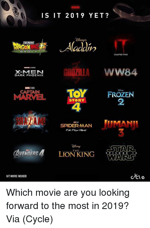 Frozen, Godzilla, and Spider: IS IT 2019 YET?  BROL  CHAPTER TWO  X-MEN  DARK PHOENIX  GODZILLA WW84  TOY FROZEN  CAPTAIN  2  STORY  4  SPIDER-MAN  THE  WARS  HIT MOVIE INSIDER  ccle Which movie are you looking forward to the most in 2019?  Via (Cycle)