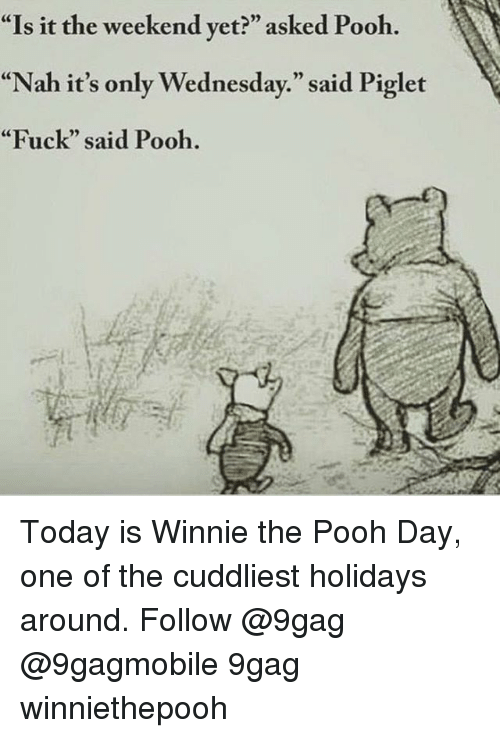 "Memes, Winnie the Pooh, and The Weekend: ""Is it the weekend yet?"" asked Pooh.  ""Nah it's only Wednesday."" said Piglet  ""Fuck"" said Pooh. Today is Winnie the Pooh Day, one of the cuddliest holidays around. Follow @9gag @9gagmobile 9gag winniethepooh"