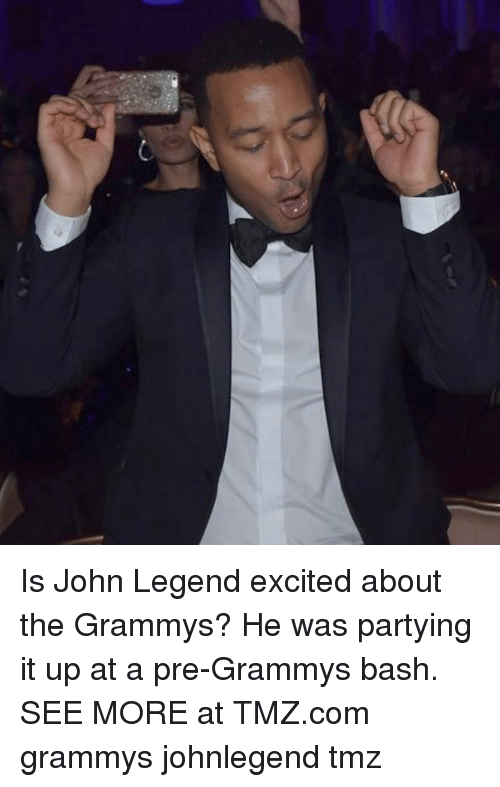 Excition: Is John Legend excited about the Grammys? He was partying it up at a pre-Grammys bash. SEE MORE at TMZ.com grammys johnlegend tmz