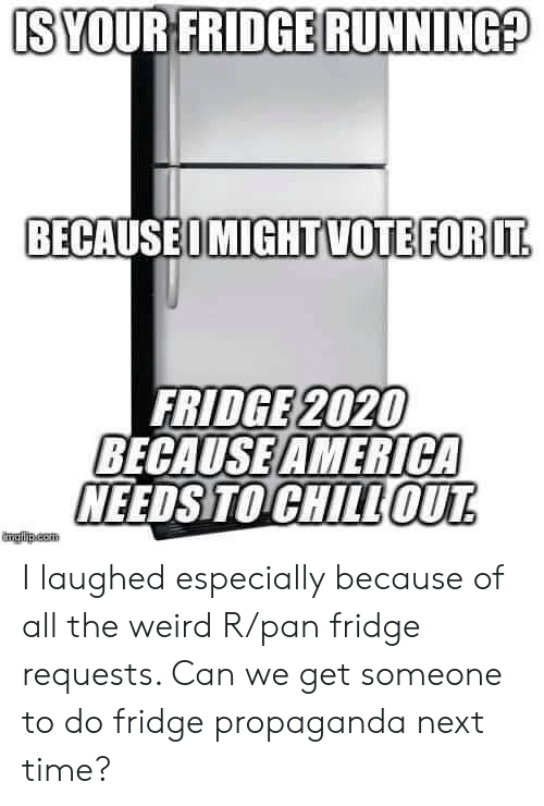 Propaganda: IS YOUR FRIDGE RUNNING?  BECAUSEOMIGHTVOTEFOR IT  FRIDGE 2020  BECAUSE AMERICA  NEEDS TO CHILLOUT  mglha.com I laughed especially because of all the weird R/pan fridge requests. Can we get someone to do fridge propaganda next time?