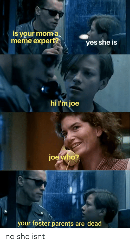 Meme, Parents, and Moma: Is your moma  meme expert?  yes she is  hi l'm joe  joe who?  your foster parents are dead no she isnt