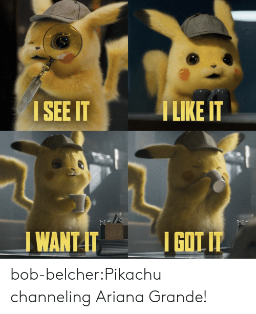 Ariana Grande, Pikachu, and Target: ISEE IT  I LIKE IT  WANT ITGOT bob-belcher:Pikachu channeling Ariana Grande!