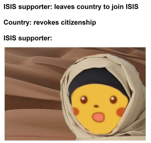 Isis, Citizenship, and Country: ISIS supporter: leaves country to join ISIS  Country: revokes citizenship  ISIS supporter: