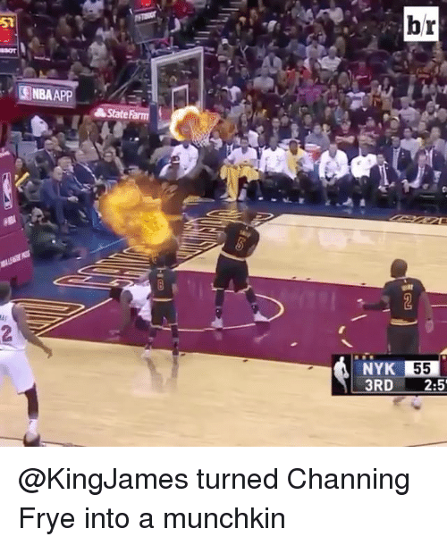 channing frye: ISNBAAPP  State  br  55  3RD  2:5 @KingJames turned Channing Frye into a munchkin