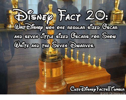 Memes, Oscars, and Cbs: ISNEDN TACT  CYBISNEPOON ONE REGULAR SIZED OSCAR  AND SEVEN LITTLE SIZED  OSCARS FOR SNOo  HITE AND THE SEVEN SBSARVES.  ATESBISNEPTACTsil CamBLR  a 2010 CBS rteractne