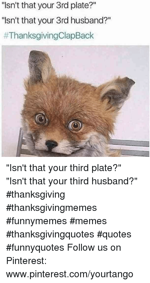 """Memes, Thanksgiving, and Thanksgiving Clap Back: """"Isn't that your 3rd plate?""""  """"sn't that your 3rd husband?""""  """"Isn't that your third plate?""""  """"Isn't that your third husband?"""" #thanksgiving #thanksgivingmemes #funnymemes #memes #thanksgivingquotes #quotes #funnyquotes Follow us on Pinterest: www.pinterest.com/yourtango"""