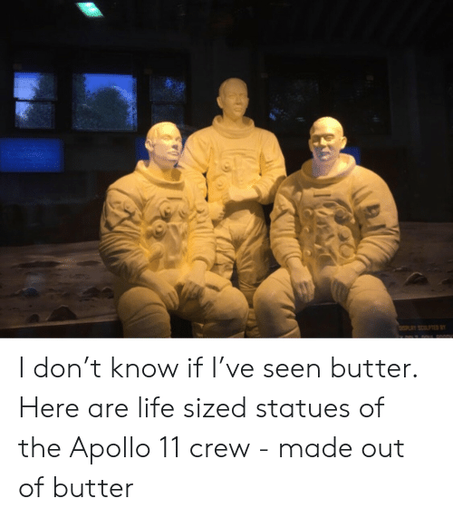 Life, Apollo, and Apollo 11: ISPLAY SCULPTED B I don't know if I've seen butter.  Here are life sized statues of the Apollo 11  crew - made out of butter