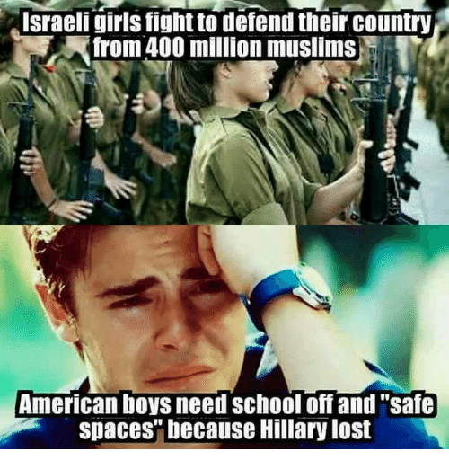 """Muslim American: Israeli girls fight to defend their country  Afrom 400 million muslims  American boys need School off and """"safe  spaces"""" because Hillary lost"""