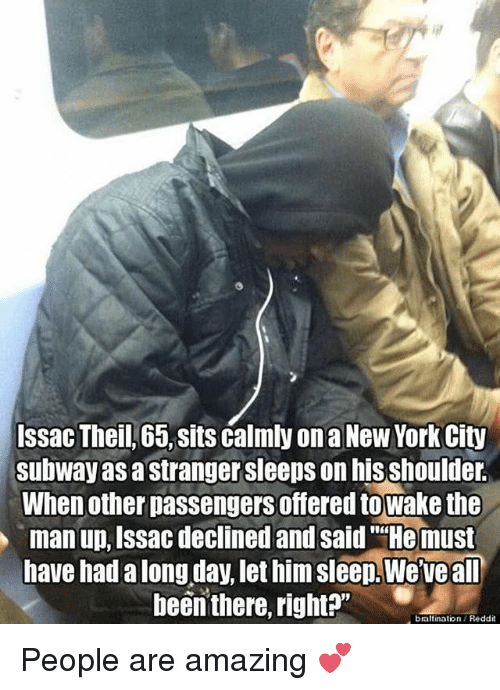 Issac Theil 65 Sits Calmly on a New York City Subway a