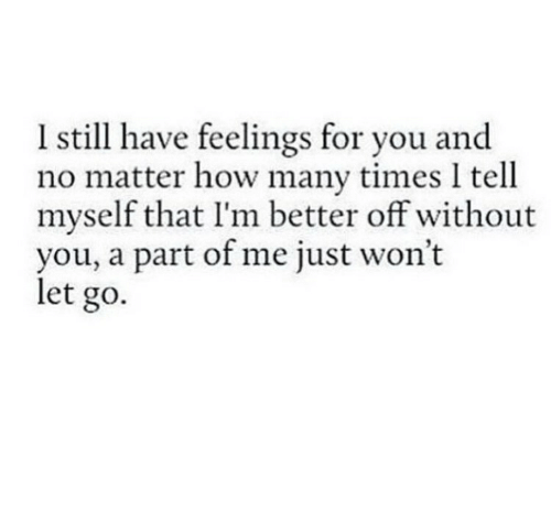 Without You: Istill have feelings for you and  no matter how many times I tell  myself that I'm better off without  you, a part of me just won't  let go.