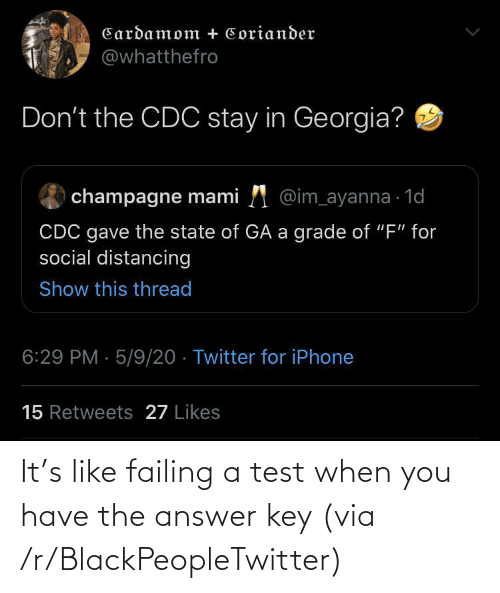 When You Have: It's like failing a test when you have the answer key (via /r/BlackPeopleTwitter)