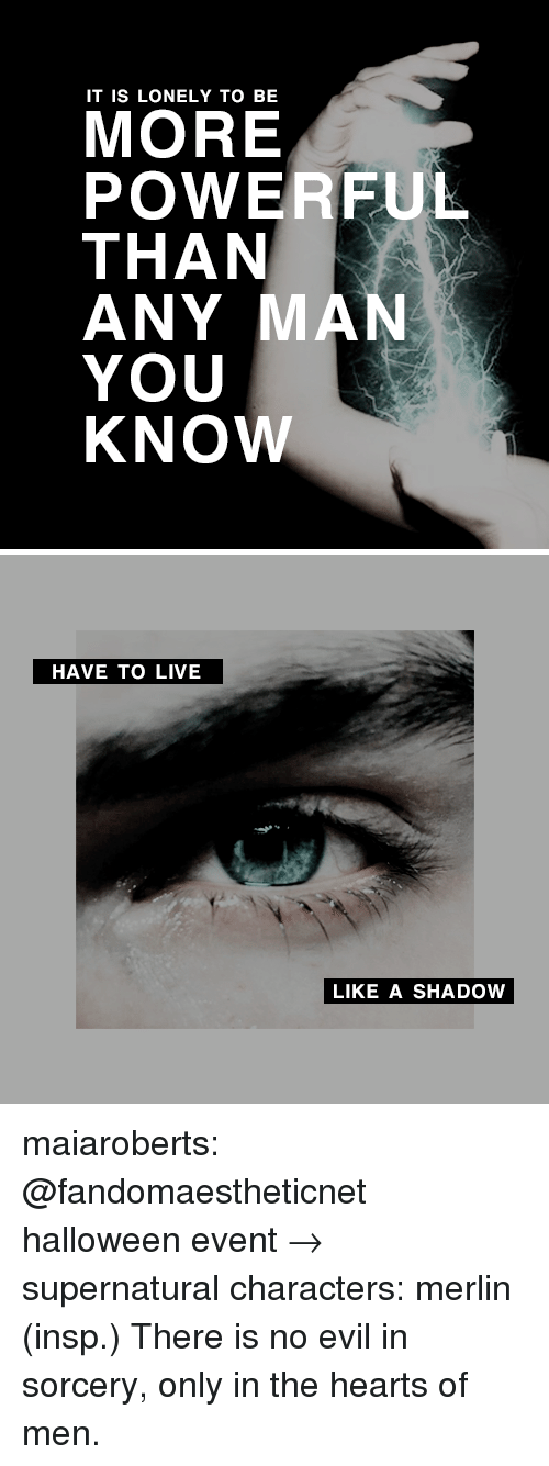 sorcery: IT IS LONELY TO BE  MORE  POWERFUL  THAN  ANY MAN  YOU  KNOW   HAVE TO LIVE  LIKE A SHADOW maiaroberts: @fandomaestheticnet halloween event→ supernatural characters: merlin (insp.) There is no evil in sorcery, only in the hearts of men.