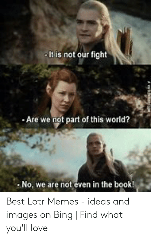 Funny Lord Of The Rings: It is not our fight  Are we not part of this world?  No, we are not even in the book! Best Lotr Memes - ideas and images on Bing | Find what you'll love