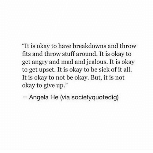 "angela: ""It is okay to have breakdowns and throw  fits and throw stuff around. It is okay to  get angry and mad and jealous. It is okay  to get upset. It is okay to be sick of it all.  It is okay to not be okay. But, it is not  okay to give up.""  Angela He (via societyquotedig)"