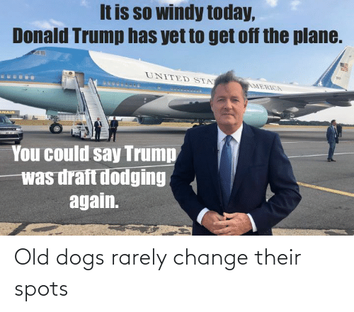 Donald Trump: It is so windy today,  Donald Trump has yet to get off the plane.  UNITED STA  AMERICA  ANAIR  You could say Trump  was draft dodging  again. Old dogs rarely change their spots