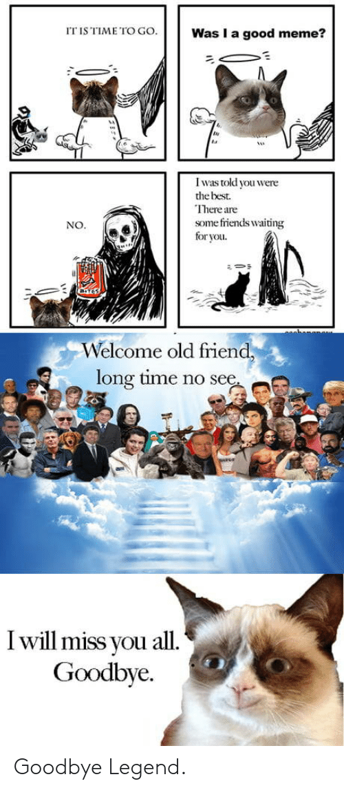 Meme, Best, and Good: IT IS TIME TOW  Was I a good meme?  0  I was told you were  the best.  There are  some firiends waiting  for you  NO.  Welcome old friend  long time no see  I will miss you all  Goodbye. Goodbye Legend.