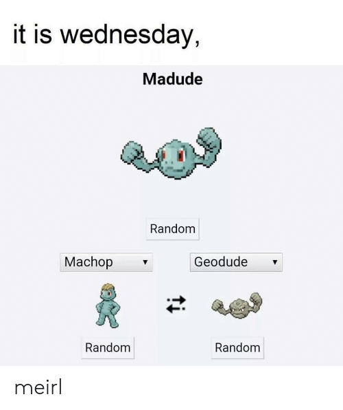 Is Wednesday: it is wednesday,  Madude  Random  Machop  Geodude  Random  Random meirl