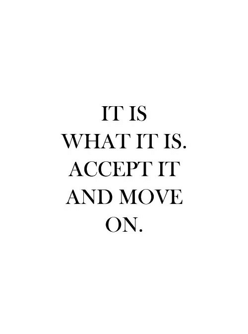 What It Is: IT IS  WHAT IT IS.  ACCEPT IT  AND MOVE  ON