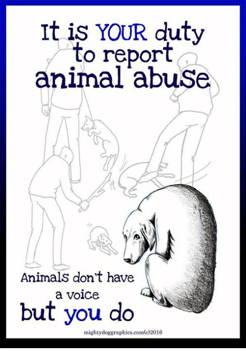 Animal Abuse: It is YOUR duty  to report  animal abuse  Animals don't have  a voice  but you do  mighty doggraphics.com c)2016