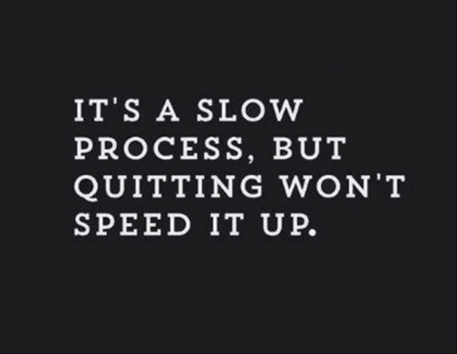 Quitting: IT S A SLOW  PROCESS, BUT  QUITTING WON T  SPEED IT UP.
