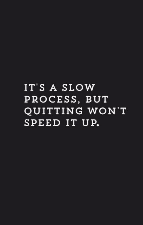 Speed, Slow, and Quitting: IT S A SLOW  PROCESS, BUT  QUITTING WON'T  SPEED IT UP.