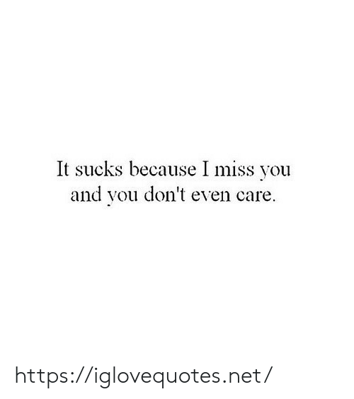 It Sucks: It sucks because I miss you  and vou don't even care https://iglovequotes.net/