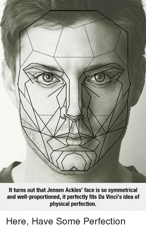 Physical, Jensen Ackles, and Idea: It turns out that Jensen Ackles' face is so symmetrical  and well-proportioned, it perfectly fits Da Vinci's idea of  physical perfection. <p>Here, Have Some Perfection</p>