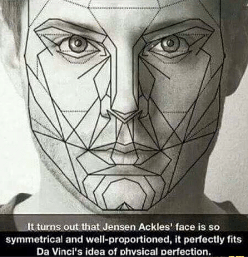 Symmetrical: It turns out that Jensen Ackles' face is so  symmetrical and well-proportioned, it perfectly fits  Da Vinci's idea of phvsical perfection.