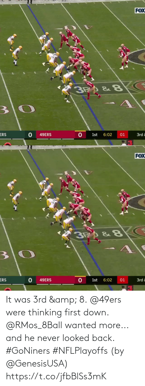 Back: It was 3rd & 8. @49ers were thinking first down.  @RMos_8Ball wanted more... and he never looked back. #GoNiners #NFLPlayoffs  (by @GenesisUSA) https://t.co/jfbBlSs3mK