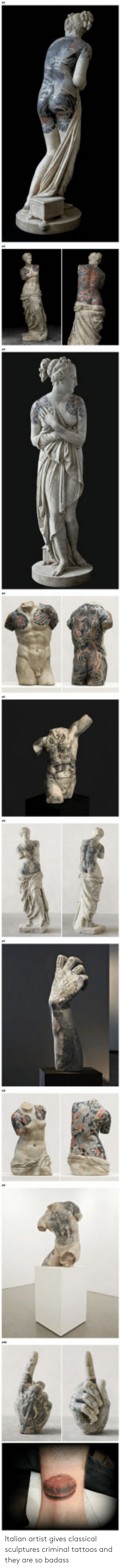 Tattoos, Badass, and Classical: Italian artist gives classical sculptures criminal tattoos and they are so badass