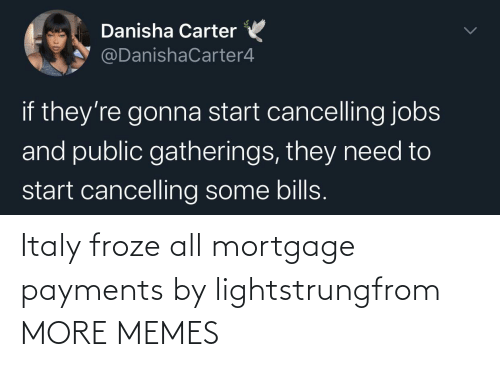 Italy: Italy froze all mortgage payments by lightstrungfrom MORE MEMES