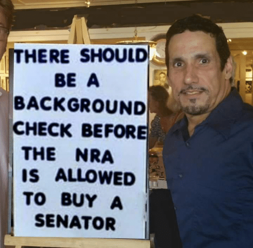 Nra, Senator, and Check: ITHERE SHOULD  BE A  BACKGROUND  CHECK BEFORE  THE NRA  IS ALLOWED  TO BUY A  SENATOR