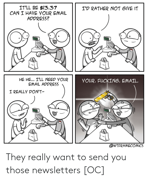 Fucking, Email, and Can: IT'LL BE $13.37  CAN I HAVE YOUR EMAIL  ADDRESS?  I'D RATHER NOT GIVE IT  HE HE... I'LL NEED YOUR  EMAIL ADDRESS  YOUR. FUCKING, EMAIL  I REALLY DON'T  @WTFRAMECOMICS They really want to send you those newsletters [OC]