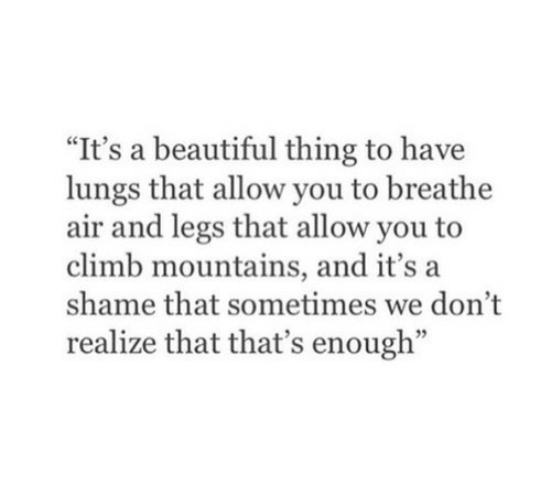 "Beautiful, Air, and Shame: ""It's a beautiful thing to have  lungs that allow you to breathe  air and legs that allow you to  climb mountains, and it's a  shame that sometimes we don't  realize that that's enough"""