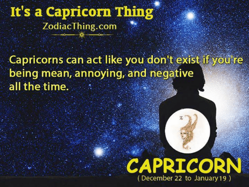 capricorns: It's a Capricorn Thing  ZodiacThing.com  Capricorns can act like you don't exist if yod re  being mean, annoying, and negative  all the time  CAPRICORN  (December 22 to January 19)