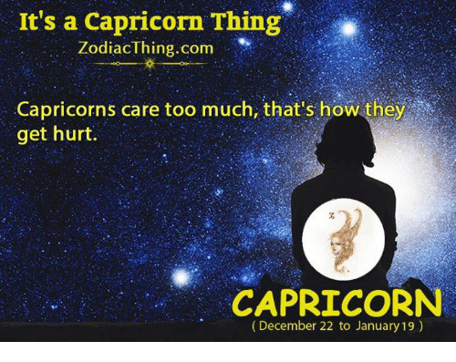 capricorns: It's a Capricorn Thing  ZodiacThing.com ,,.. Iİ(  Capricorns care too much, that's how they  get hurt.  CAPRICORN  (December 22 to January 19)
