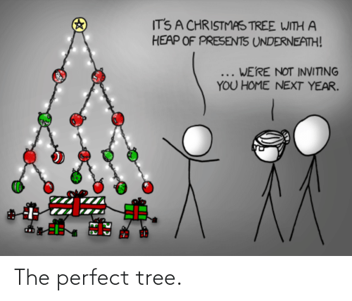 Tree: IT'S A CHRISTMAS TREE WITH A  HEAP OF PRESENTS UNDERNEATH!  ... WE'RE NOT INVITING  YOU HOME NEXT YEAR. The perfect tree.
