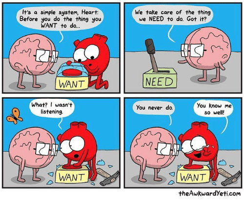 Memes, Heart, and Never: It's a simple system, Heart:  Before you do the thing you  WANT to do...  We take care of the thing  we NEED to do. Got it?  N)  L |WANT  NEED  What? I wasn't  listening  You know me  so well  You never do.  I WANT  I WANT  theAwkwardYeti.com