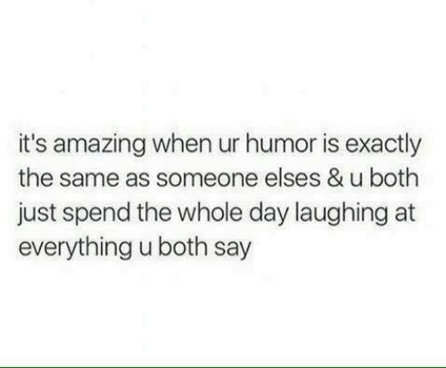 Its Amazing: it's amazing when ur humor is exactly  the same as someone elses & u both  just spend the whole day laughing at  everything u both say