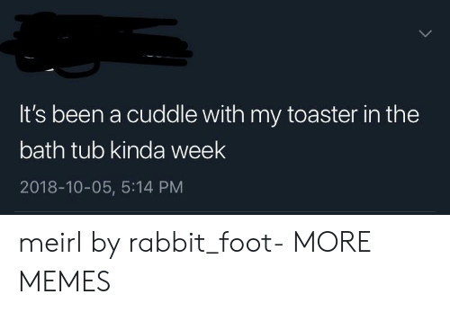 Cuddle With: It's been a cuddle with my toaster in the  bath tub kinda week  2018-10-05, 5:14 PM meirl by rabbit_foot- MORE MEMES