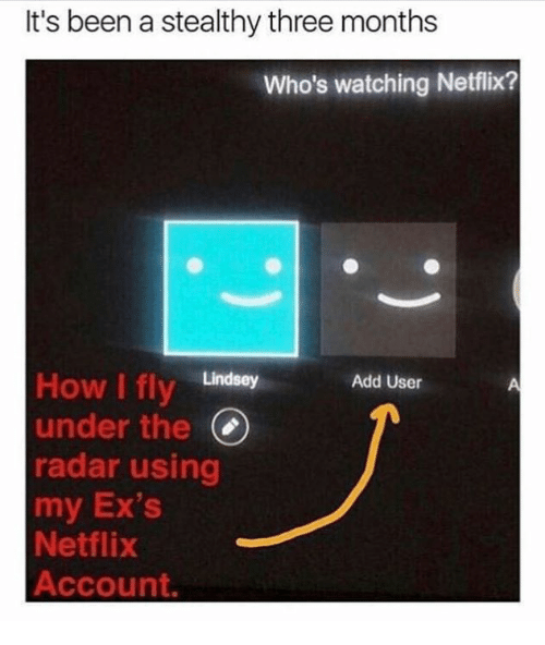 Ex's: It's been a stealthy three months  Who's watching Netflix?  How I fly Lindsey  under the(  radar using  my Ex's  Netflix  Account.  Add User