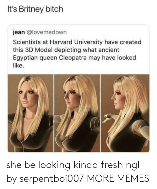 jean: It's Britney bitch  jean @lovemedown  Scientists at Harvard University have created  this 3D Model depicting what ancient  Egyptian queen Cleopatra may have looked  like. she be looking kinda fresh ngl by serpentboi007 MORE MEMES