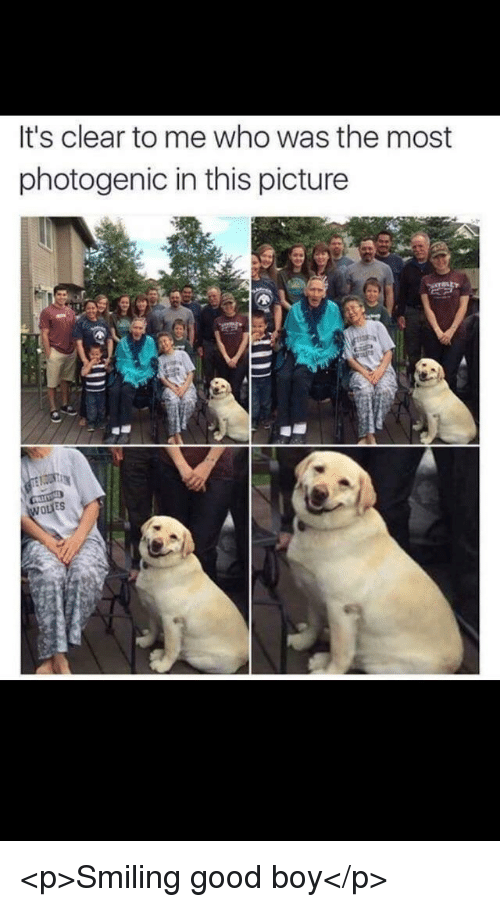 Good, Boy, and Who: It's clear to me who was the most  photogenic in this picture  ES <p>Smiling good boy</p>