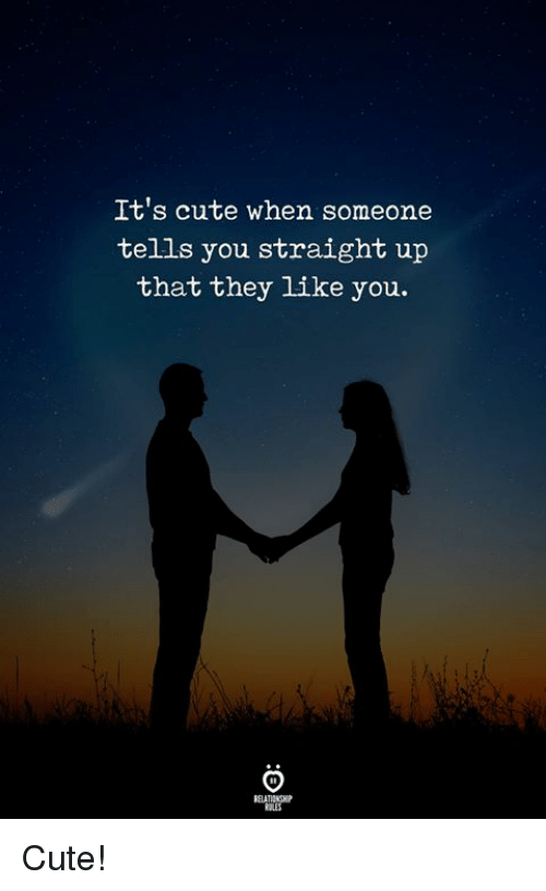 Cute, They, and You: It's cute when someone  tells you straight up  that they like you. Cute!